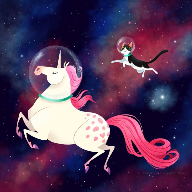 Elsa Chang, Space Unicorn and Space Cat!