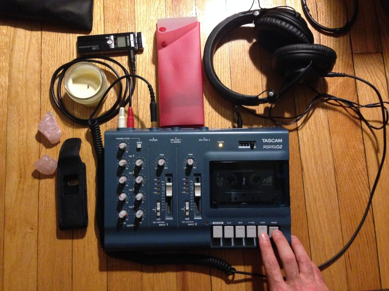 four track tascam and headphones