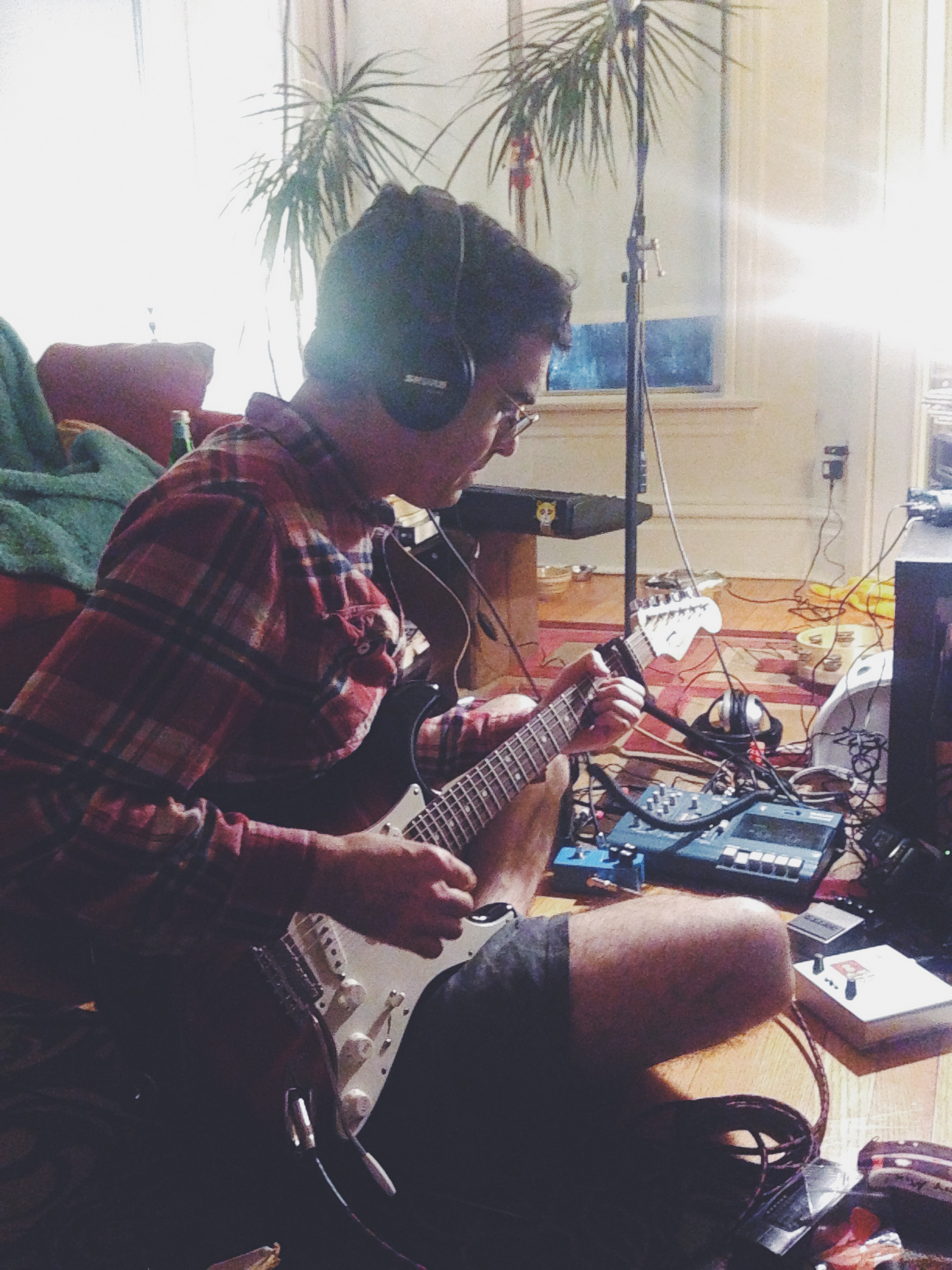 Brian recording a Pet Theories demo