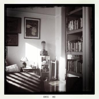 leland black and white bookshelf and vitamix