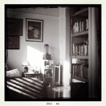leland black and white bookshelf and vitamix