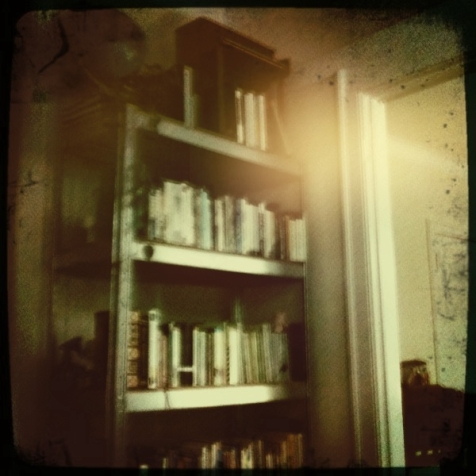 leland bookshelf with toy piano grunge filter