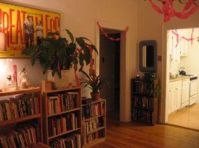 talman party decorations and bookshelves