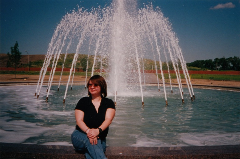 AF at a fountain in front of a landfill