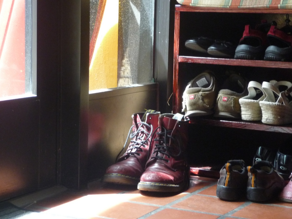boots near the door at the zen buddhist temple