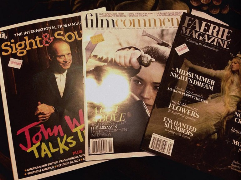 copies of sight and sound, film comment, and faerie magazine