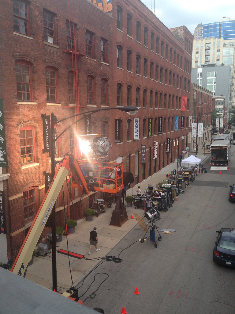 superior street chicago with movie crane