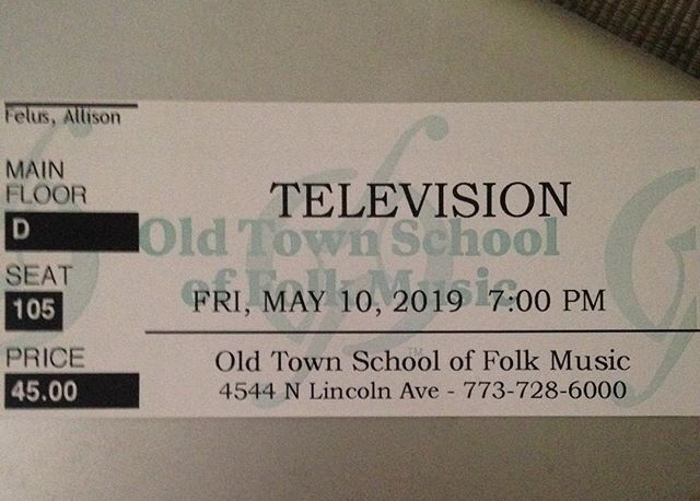 ticket stub for television concert in chicago